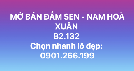 Mở bán mặt tiền đầm sen - Nam Hoà Xuân - B2.132