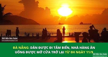 Từ mai, 11/9 dân Đà Nẵng đi cafe, ăn uống, tắm biển ...lại được rồi